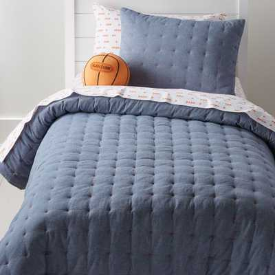 Chambray Blue Twin Quilt - Crate and Barrel