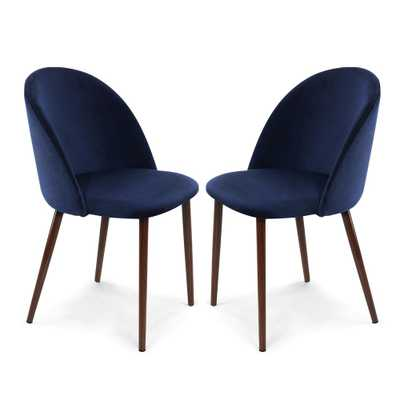 Sedona Space Blue Velvet Dining Chair (Set of 2), Space Blue/Brown - Home Depot
