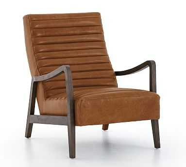 Walker Leather Armchair, Polyester Wrapped Cushions, Burnished Saddle - Pottery Barn