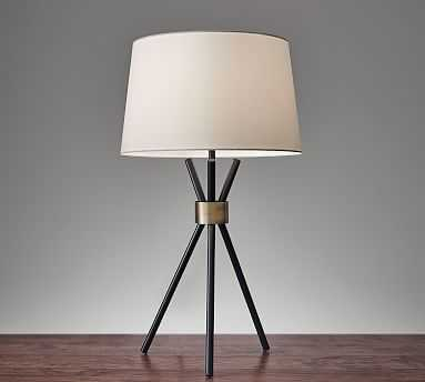 Joseph Table Lamp, Antique Brass; Black - Pottery Barn
