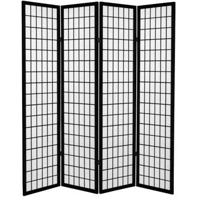 6 ft. Black Canvas Window Pane 4-Panel Room Divider - Home Depot