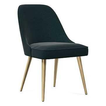 Mid-Century Dining Chair, Metal Leg, Distressed Velvet, Peacock, Blackened Brass - West Elm