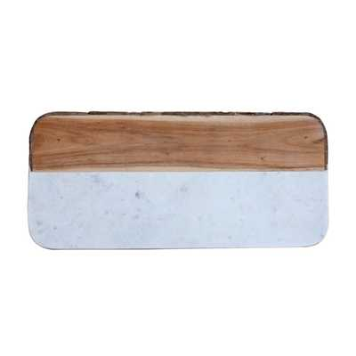 Oval 15.5 in. Mango Wood and Marble Cheese Board, Natural - Home Depot
