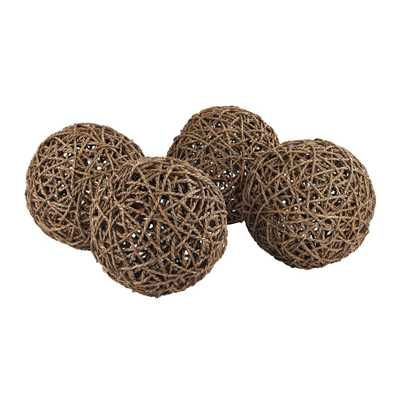 Set of 4- 9 in. Round Natural Rope Decorative Orbs, Brown/Tan - Home Depot