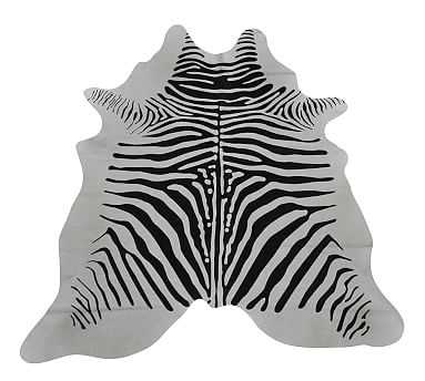 Hair On Hide Zebra Rug, Zebra - Pottery Barn