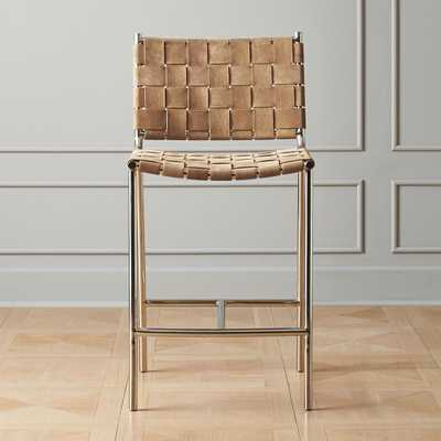 """Woven Brown Suede Counter Stool 24"""" - CB2"""