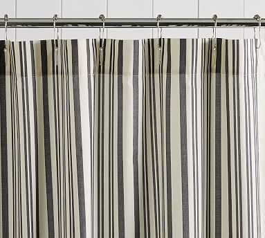 Antique Stripe Shower Curtain, 72x72, Gray - Pottery Barn