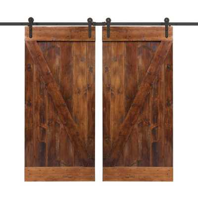 CALHOME 72 in. x 84 in. Walnut Stain Wood Double Sliding Barn Door with Hardware Kit - Home Depot