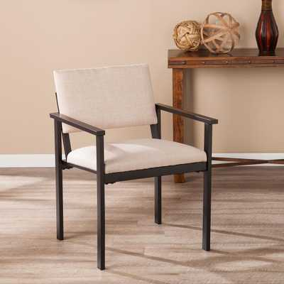 Southern Enterprises Ferndale Warm Sand Upholstered Armchair, Warm sand and black finish - Home Depot