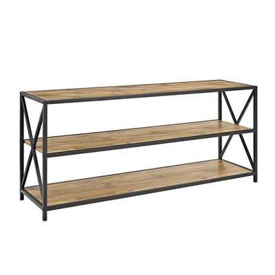 X-Frame Barnwood Metal and Wood Wide Media Bookshelf - Home Depot