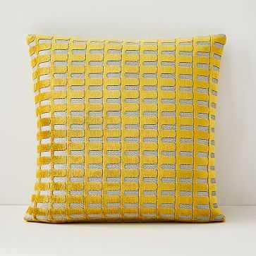 """Cut Velvet Archways Pillow Cover, Set of 2, 20""""x20"""", Dark Horseradish - West Elm"""