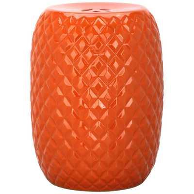 Safavieh Calla Orange Patio Stool - Home Depot