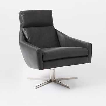 Austin Swivel Base Chair, Aspen Leather, Fog, Polished Nickel - West Elm