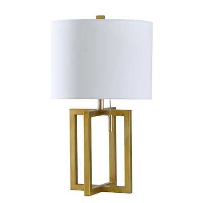 StyleCraft 22 in. Solid Gold Table Lamp with Brussels Off White Hardback Fabric Shade - Home Depot