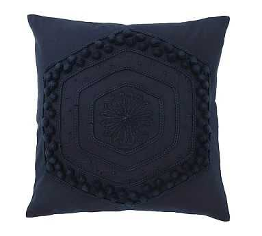 "Pom Pom Embroidered Pillow Cover, 20"", Navy - Pottery Barn"