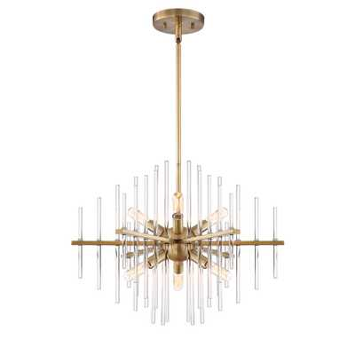 Designers Fountain Reeve 6-Light Brushed Antique Bronze Chandelier with Clear Glass Rods Shade - Home Depot