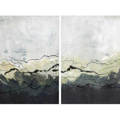 'Deserted Mountains' 2 Piece Acrylic Painting Print Set on Canvas - Wayfair