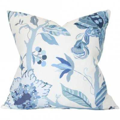 Sayre Blue - 22x22 pillow cover (square - medium/large) / pattern on front, solid on back - Arianna Belle