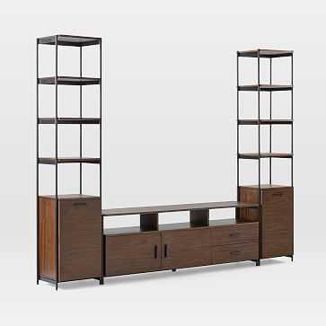 """Foundry Narrow Bookcase + 69"""" Console Set, Dark Walnut - West Elm"""