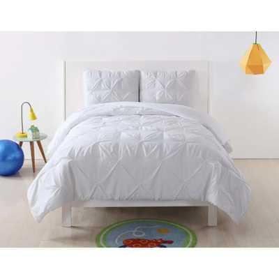 Pleated White Twin XL Duvet Set, White Duvet - Home Depot