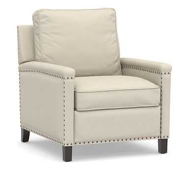 Tyler Square Arm Upholstered Recliner with Bronze Nailheads, Down Blend Wrapped Cushions, Performance Brushed Basketweave Ivory - Pottery Barn