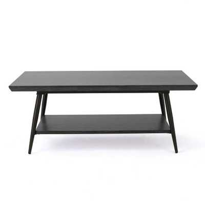 Noble House Lathom Black Wood and Metal Coffee Table with Shelf - Home Depot