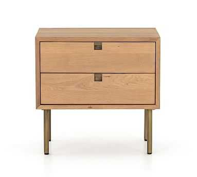 Archdale Nightstand, Natural Oak/Satin Brass - Pottery Barn