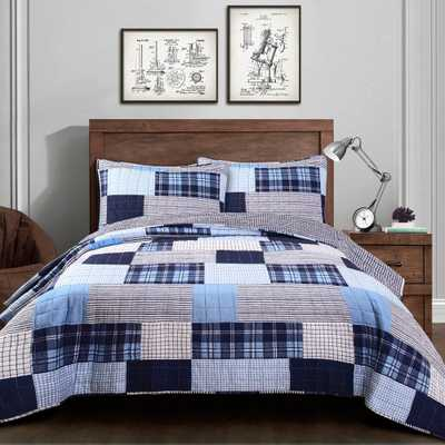 3pc King Greenville Quilt Navy (Blue) - Lush Decor - Target