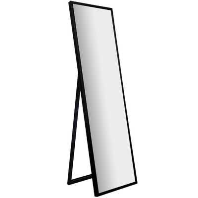 """16""""x57"""" Framed Floor Free Standing Mirror with Easel Black - Gallery Solutions - Target"""