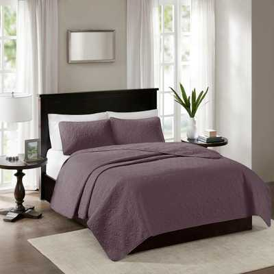 Mansfield 3-Piece Purple Full/Queen Reversible Mini Coverlet Set - Home Depot
