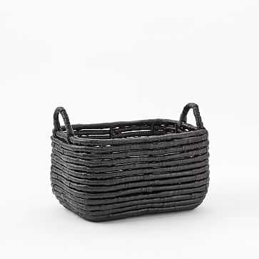 Woven Seagrass Baskets, Black, Small Recantagle - West Elm