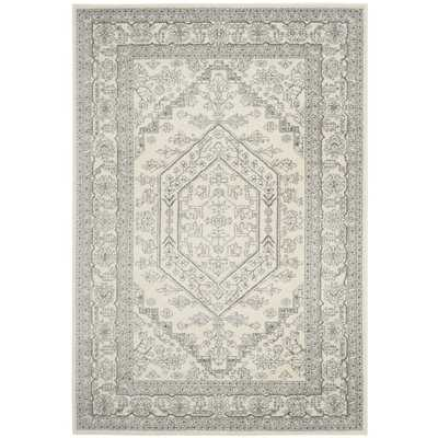 Ebenezer Contemporary Power Loomed Ivory/Silver Area Rug - AllModern
