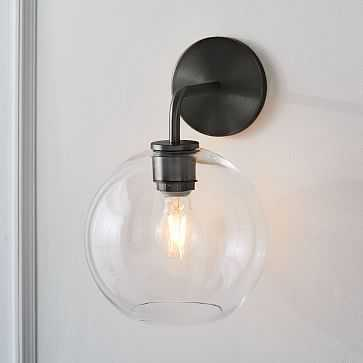 Sculptural Glass Globe Sconce, Small Globe, Clear Shade, Bronze Canopy - West Elm