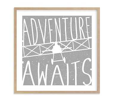 Adventure Awaits Vintage Airplane Wall Art by Minted(R), 16x16, Natural - Pottery Barn Kids