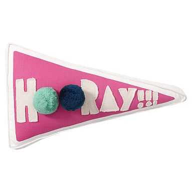 Peppy Poms Filled Pennant Pillow, Hooray - Pottery Barn Teen