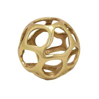 THREE HANDS 5 in. Gold Orb Tabletop Decoration - Home Depot