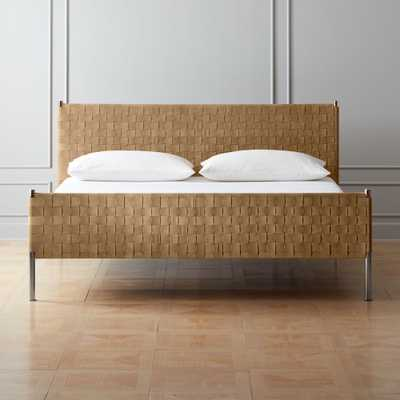 Woven Brown Suede King Bed - CB2