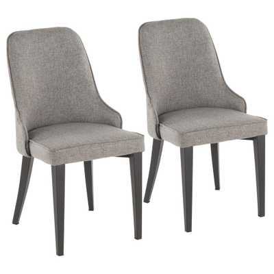 Nueva Grey and Black Dining/Accent Chair (Set of 2), Grey/Black - Home Depot