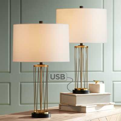 Nathan Gold Table Lamp with USB Set of 2 - Style # 36W47 - Lamps Plus