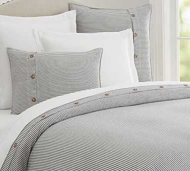 Wheaton Stripe Duvet Cover, King/Cal. King, Navy - Pottery Barn