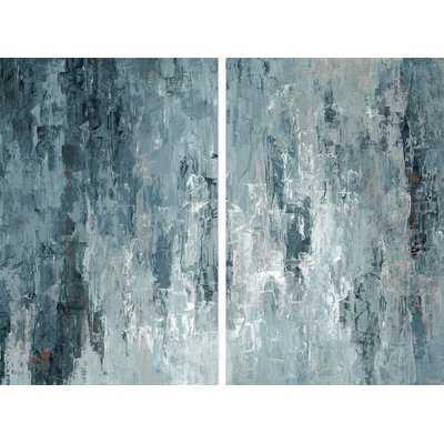 'Tainted Dark Blues' Diptych - Wayfair