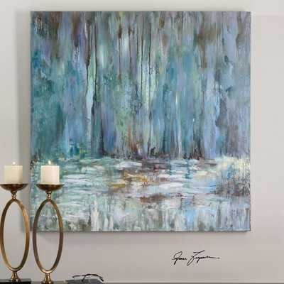 'Blue Waterfall' Painting on Wrapped Canvas - AllModern