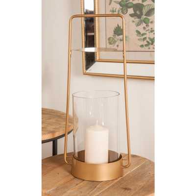 Litton Lane 16 in. Gold Candle Lantern, Gold/Clear - Home Depot