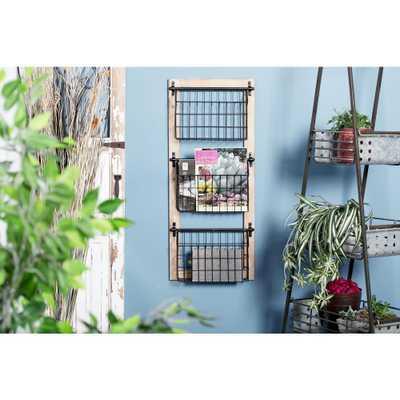 Black Iron 3-Tier Wire Basket Wall Rack, Blacks - Home Depot