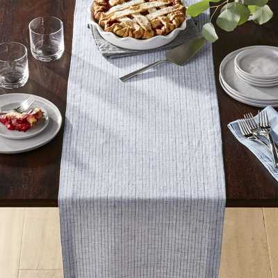 """Suits Blue Stripe 90"""" Linen Table Runner - Crate and Barrel"""