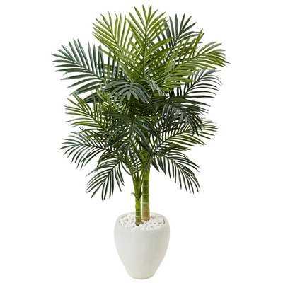 Artificial Golden Cane Floor Palm Tree in Stone Planter - Wayfair