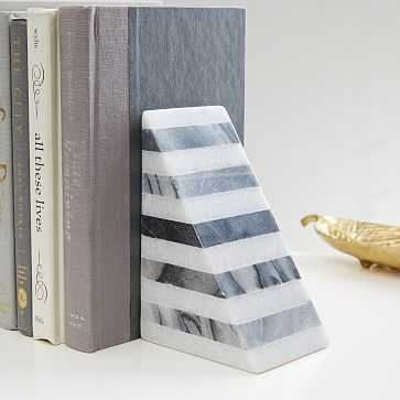 Geometry Bookends, Striped Angle, Black/White - West Elm