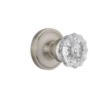 Classic Rosette 2-3/8 in. Backset Satin Nickel Privacy Bed/Bath Crystal Glass Door Knob - Home Depot