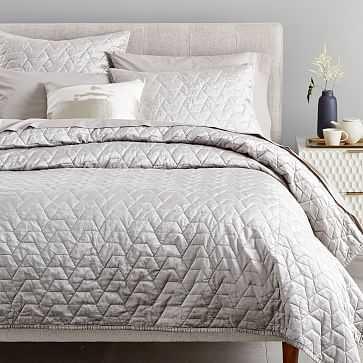 Luster Velvet Deco Quilt, King, Platinum - West Elm