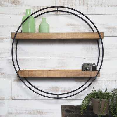 Maisha Round Metal and Wood Wall Shelf - Birch Lane